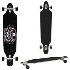 Longboard Della Ditta (104 X 23 X 9,5 Cm) - Cuscinetti A Sfera Abec 7 - Skateboard / Drop Through / Tavola Da Freeride / Tavola Da Cruising / Tavola Vintage / Colore: Nero-bianco-fucsia