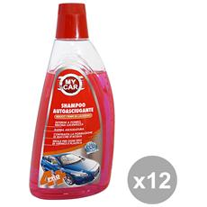 Set 12 Shampoo Autoasciugante 1 Lt. Accessori Auto E Moto