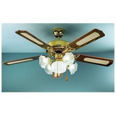7066OL Ventilatore da Soffitto 5 Pale Diametro 130 cm Kit Luce Colore Noce