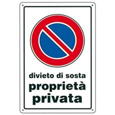 Cartello Divieto Di Sosta P.p. 30x 45 Alluminio