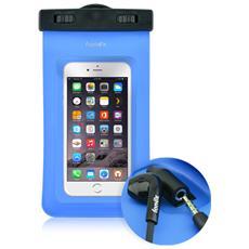 "Custodia Waterproof Audio per Dispositivi 3""- 6"" con Jack 3,5 mm Colore Blu"