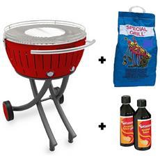 Barbecue Xxl Con Ruote - Starter Kit Bbq Con 2kg Di Carbonella E Gel Accendifuoco 500ml - Rosso