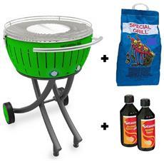 Barbecue Xxl Con Ruote - Starter Kit Bbq Con 2kg Di Carbonella E Gel Accendifuoco 500ml - Verde