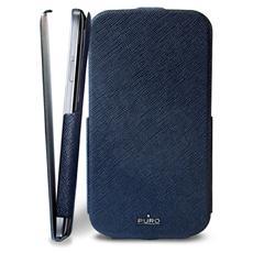 *Puro Cover Samsung Galaxy S 4 Flip Vert. Ecopelle Blu Logo Silver