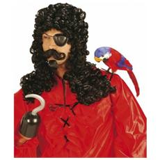 parrucca hook pirata con baffi e pizzetto
