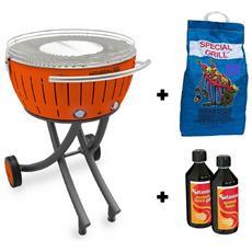 Barbecue XXL con Ruote - Starter Kit BBQ con 2kg di Carbonella e Gel Accendifuoco 500ml - Arancione