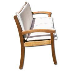 Panca 2 posti in legno massello per arredo giardino senza cuscino
