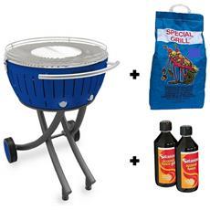 Barbecue Xxl Con Ruote - Starter Kit Bbq Con 2kg Di Carbonella E Gel Accendifuoco 500ml - Blu