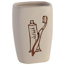 Portaspazzolino in ceramica bianca con stampa a fuoco