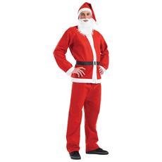 Vestito Da Babbo Natale Con Barba E Cappuccio Xxl