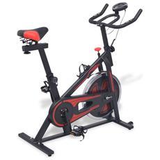 Cyclette Da Spinning Ellittica Con Sensori A Impulso Nera E Rossa