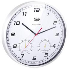 Orologio Da Parete 35 Cm Con Termometro / igrometro Om 3321 Ht Silver
