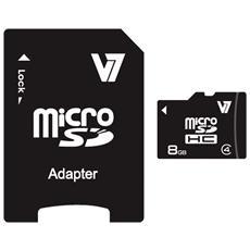 microSD High Capacity (microSDHC) V7 8 GB - Classe 4 - 10 MBps Lettura - 4 MBps Scrittura - 1 Scheda / 1 Pacco