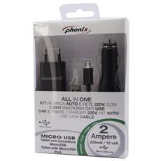Kit Caricabatterie 3 in 1, Auto / Rete / USB, per Modelli con Connettore Micro USB, Nero