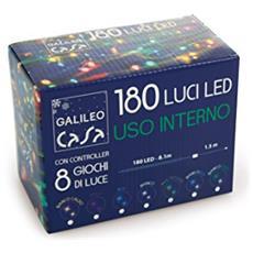Xmas Filo Con 180 Led Uso Interno Plastica Multicolore 8.1 M