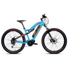 Mountain Bike Elettrica Torpado Thor 27.5 Plus 9v Biammortizzata - Motore Maxdrive - Batteria 36v 14ah - Blu Torpado - Arancio Fluo