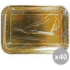 Set 40 Vassoio Carta Rettangolare Oro 21x31 Cm. X 3 Pezzi 63070 Contenitori Per La Cucina