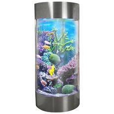 Acquario Forma Cilindrica Per Pesci Tropicali 268 Litri Acciaio Inossidabile Con 25kg Di Ghiaia Bianca