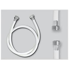 Tubo Flessibile Per Doccia In Pvc Bianco, Flessibile Per Doccia Attacchi Ff1/2''x1/2'' Lunghezza Cm. 150 In Pvc Bianco