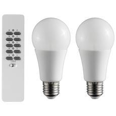 Coppia Lampade Led Goccia Opale Ad Intensità Regolabile 9w/60 E27 Con Telecomendo Wireless - 71146 Aled2-10r