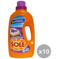 Set 10 Lavatrice Liquido 20 Mis. Con Ammorbidente Lavanda 1,3 Lt. Detergenti Casa