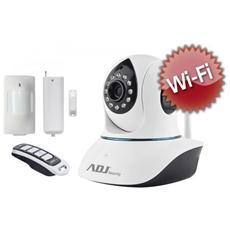 Smart Home Kit a colori da interno ADJ 74000005 con 1 Telecamera IP Argo wifi + 1 Sensore Pir wireless + 1 Sensore a contatto magnetico wireless + 1 Telecomando wireless Col. Bianco / Nero