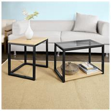 2pcs Tavolini Set, tavolino Da Divano, Impilabili, Tavolino D'appoggio, fbt35-sch
