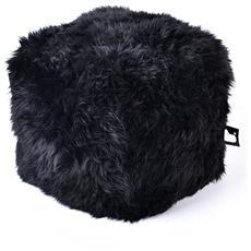 Pouf Indoor B-box In Pelliccia Di Pecora Black