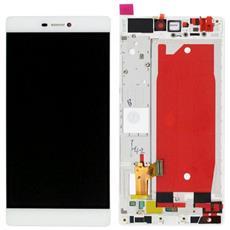 Lcd Touch Screen Vetro E Cover Frame Completo Bianco Per P8 Ascend