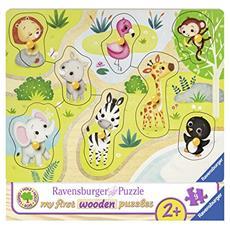 RVB03687 My first wooden puzzle - Andiamo Allo Zoo - 9 Pezzi