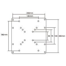 Vesa Convert 75x75/100x100mm To 200x100/200x200mm. Silver In