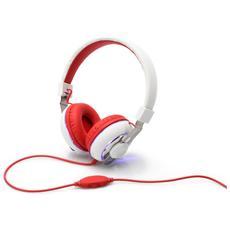 Cuffia Head Bang Colore Rosso Bianco Con Microfono Nel Filo