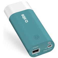Power Bank Litio da 5000 mAh con 1 Uscita USB 1A + cavo micro USB incluso colore Blu