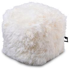 Pouf Indoor B-box In Pelliccia Di Pecora White
