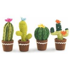Tropical Set Cactus Stoffa, Tessuto, Multicolore, 4.5 X 4.5 X 14 Cm, 4 Unità