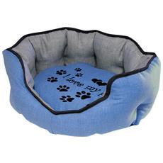 Cuccia Imbottita, comoda Per Cani Misure: 60x50xh21 Cm. Colore Blu
