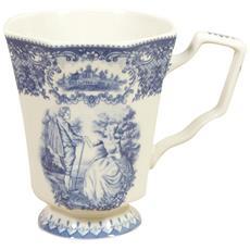Set 2 Tazze Da Tè In Stile Inglese L9xpr12xh13 Cm In Ceramica Decorata Bianca E Blu