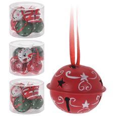 Set 6 Campanelli 4 Cm 3 Colori Assortiti Decoro Albero Addobbi Natale