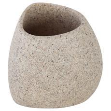 Portaspazzolino in poliresina color sabbia effetto pietra