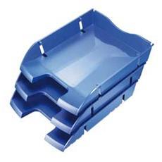 confezione da 6 pezzi - vaschetta portacorrispondenza blu salvaspazio helit