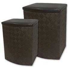 Set 2 Poltrona Pouf Seduta In Pelle Mod. bali Marrone 44x35xh55 Cm, 36x27xh47 Cm