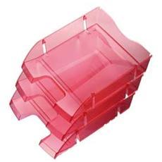 confezione da 6 pezzi - vaschetta portacorrispondenza rosso trasp. salvaspazio helit
