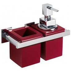 Porta Bicchiere / dosatore Diva Ottone Cromato Vetrex Rosso Cod. va 9*