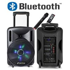 "Cassa Acustica Amplificata Ricaricabile 450w 10"""" Bluetooth Led Microfono Trolley"