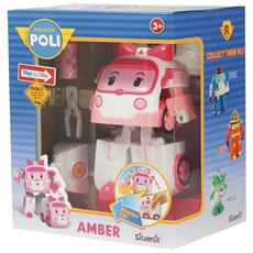 Robocar Poli - Amber - Robot Trasformabile Con Luci 13 Cm