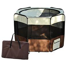 Box per animali cani gattorecinzione per cuccioli pieghevole 116 x 116 x 71 cm caffè marrone