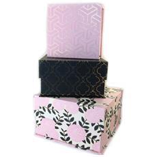 set di 3 scatola di nidificazione rosa 'art baroque' nero - [ n6360]