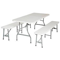Set tavolo con 2 panche da birreria campeggio giardino pic nic pieghevole in valigia in acciaio e plastica