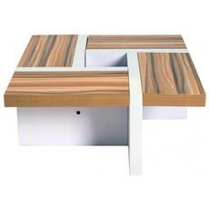 Tavolo Basso Tavolino Legno Bianco Marrone Design Moderno Sala