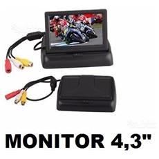 """Mini Monitor Led Retromarcia Lcd Tft 4,3"""""""" A Scomparsa A Colori Per Auto, camper, suv, Roulotte"""